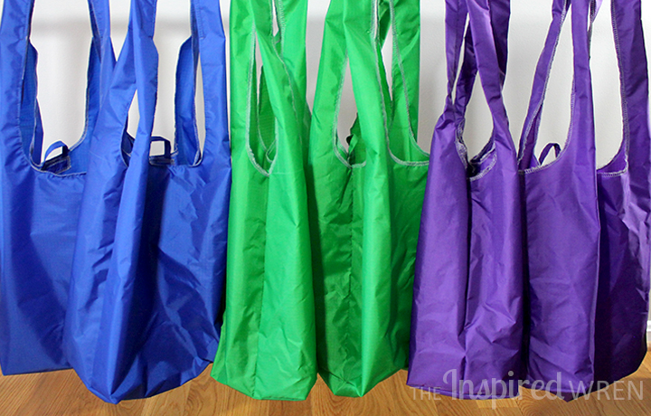 Quickly sew a durable, leak-resistant market bag with ripstop nylon and replace one-use plastic grocery bags with the Ripstop Reusable Bag pattern from The Inspired Wren.