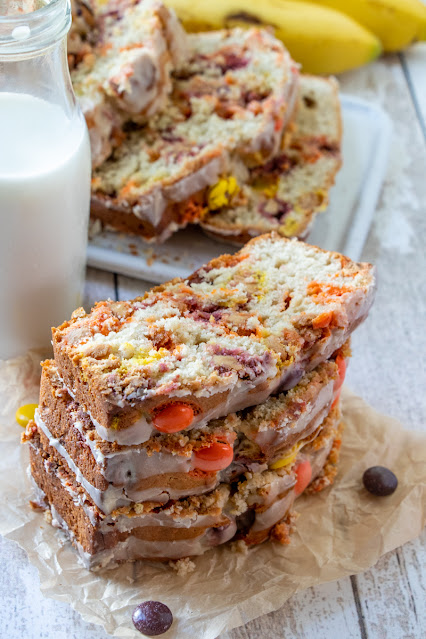 Reese's Pieces Peanut Butter Banana Bread slices stacked