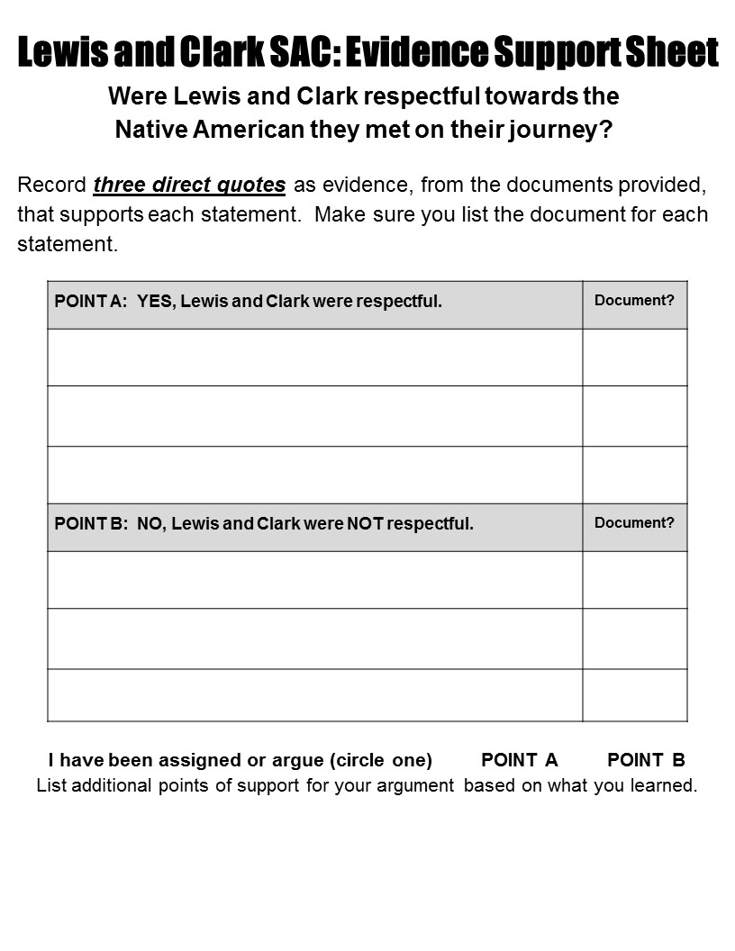 Worksheets Lewis And Clark Worksheet a view of the web structured academic controversy lewis and within their groups four students are paired up 2 i tell one pair that they will be arguing yes clark were re