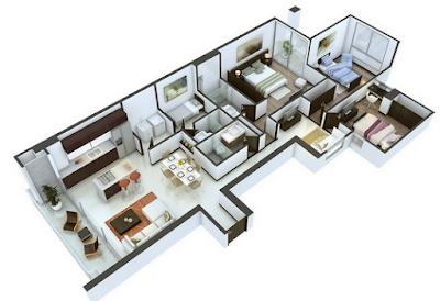 Contoh Desain denah Rumah 3 Kamar Ukuran 6x12