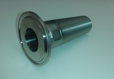 "Threaded Tapered Stainless Steel Barrel Tap with 1.5"" Tri-Clover Fitting"