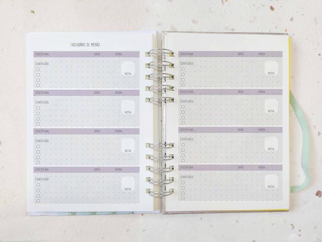 Planner de estudos com calendário de provas  da Arte de Maria