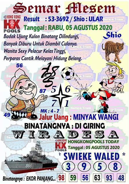Semar Mesem HK Rabu 05 Agustus 2020