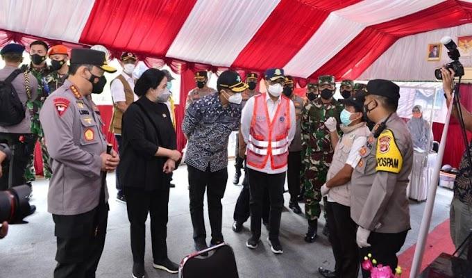 Kapolri bersama Panglima TNI dan Ketua DPR serta Menteri Jajaran Tinjau Pos Penyekatan Merak-Bakauheni