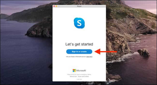 """انقر فوق """"تسجيل الدخول أو إنشاء"""" لتسجيل الدخول إلى Skype."""