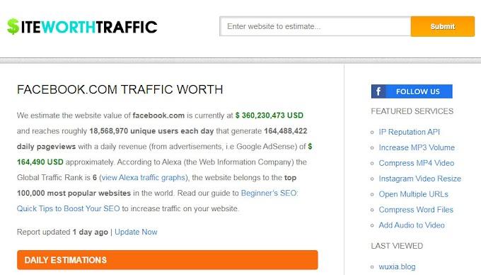 siteworthtraffic.com इस वेबसाइट के द्वारा आप किसी भी वेबसाइट की रैंक, कीमत, alexa और इनकम जाने