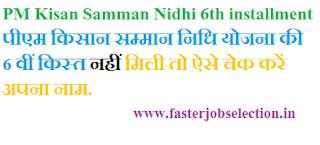 PM Kisan Samman Nidhi scheme's sixth instalment
