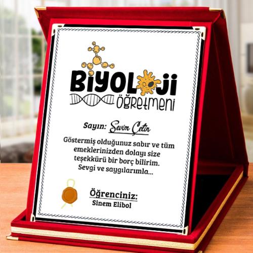 Biyoloji Öğretmenine Hediye Plaket