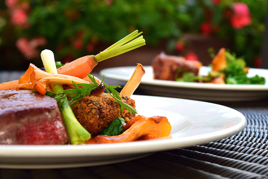 Meat and vegetables on a plate