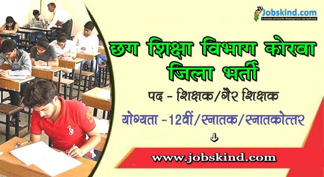 Cg DEO Korba Education Department Korba Recruitment 2020 Chhattisgarh Govt Job Advertisement Govt. English Medium School Pump House Korba Recruitment All Sarkari Naukri Information Hindi