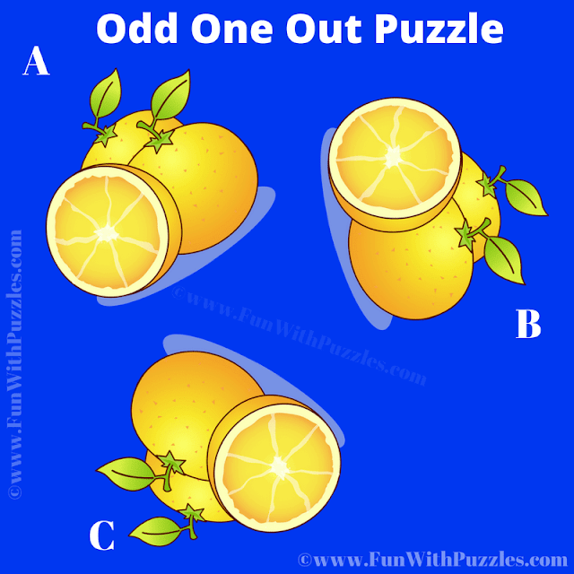 In this Puzzle Picture your task is to find Odd Orange Out among the given three similar looking pictures
