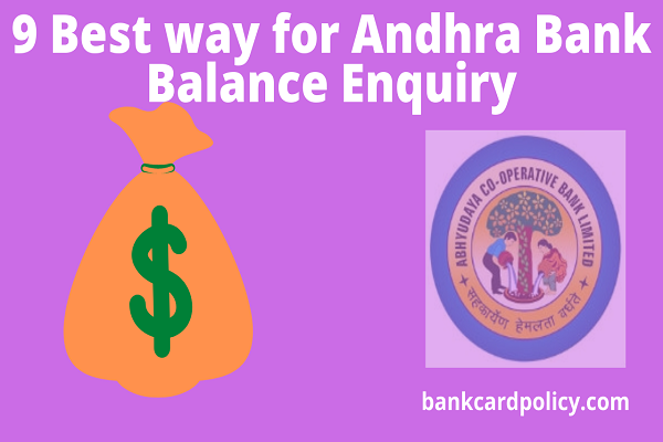 9 Best way for Andhra Bank Balance Enquiry