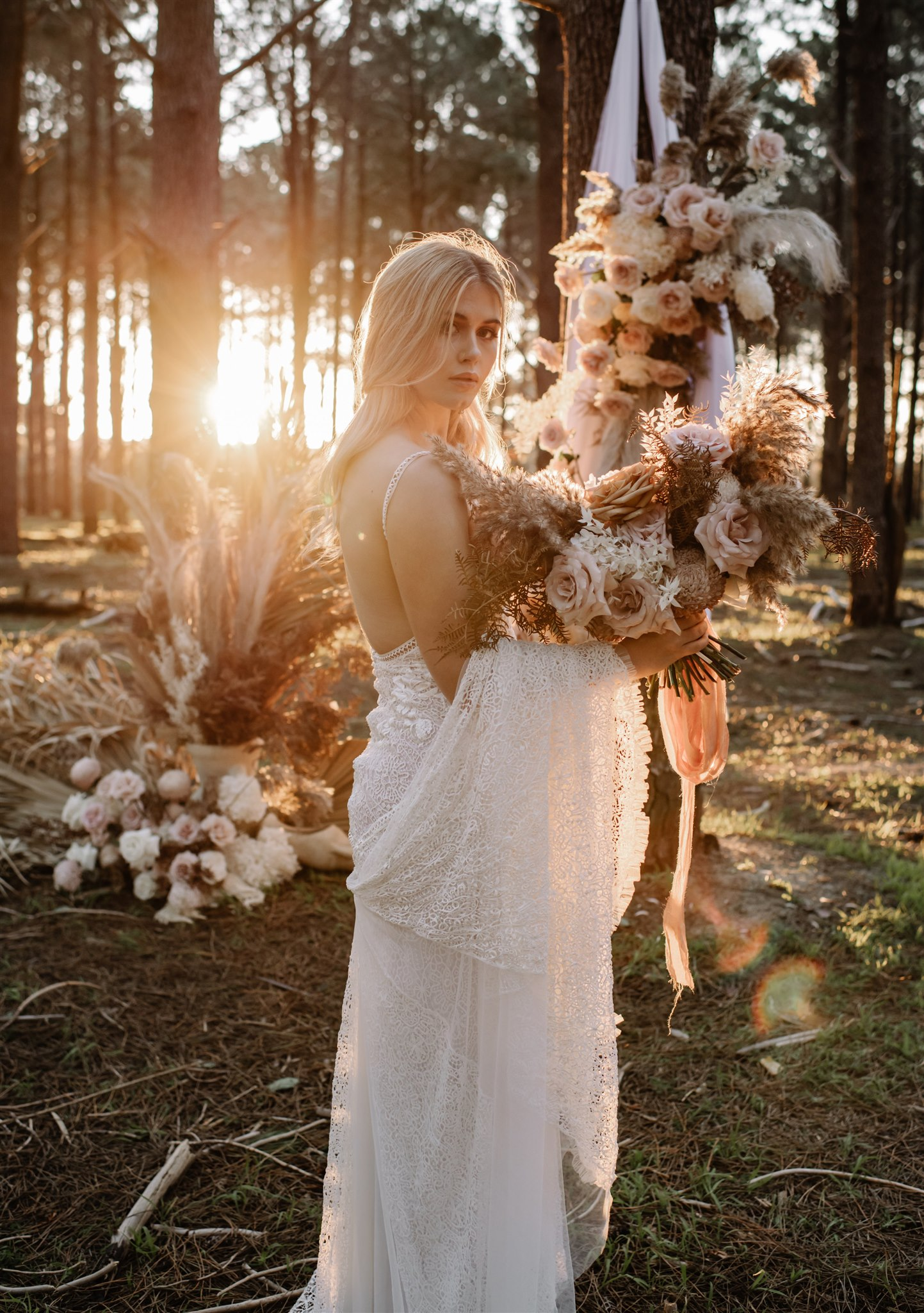 sandie bertrand photography earthy bridal bouquet boho bridal gowns styling florals luxe bohemian vibes