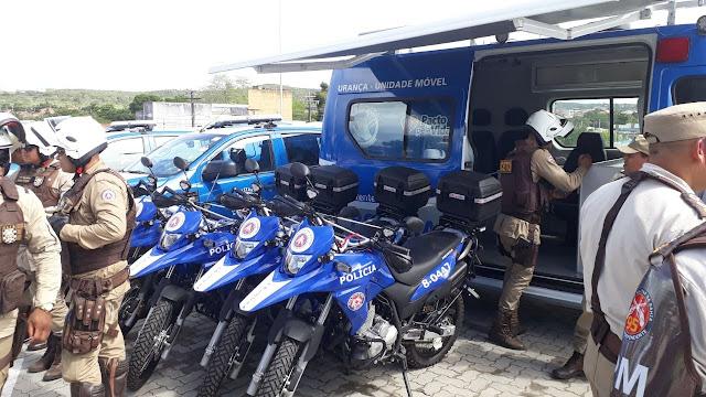 Alagoinhas: 4º BPM recebe viaturas, motocicletas e base móvel de segurança