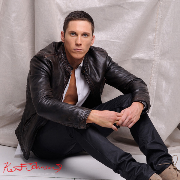 Leather jacket and jeans; studio modelling portfolio by Kent Johnson.