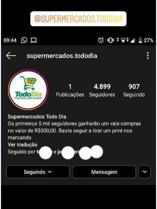 Hackers criam perfil falso no instagram para ganharem seguidores usando nome de supermercado em Campina Grande/PB