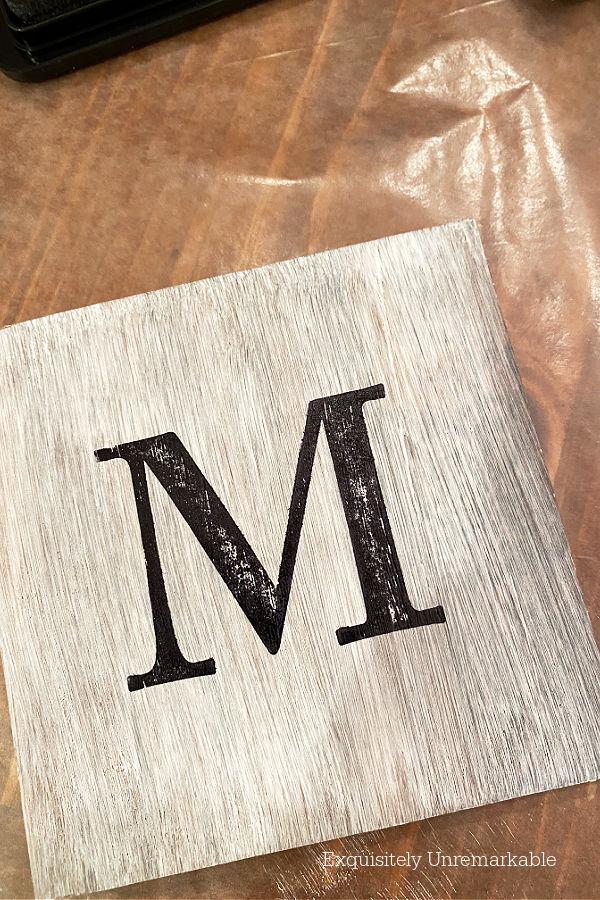 Monogrammed M Coaster DIY