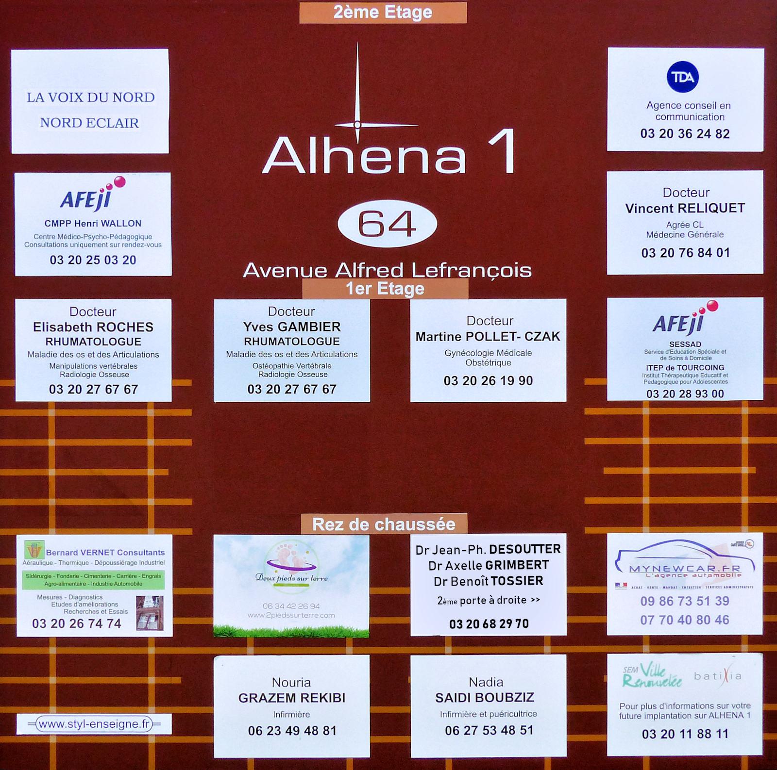 Panneau d'informations du Bâtiment Alhena 1