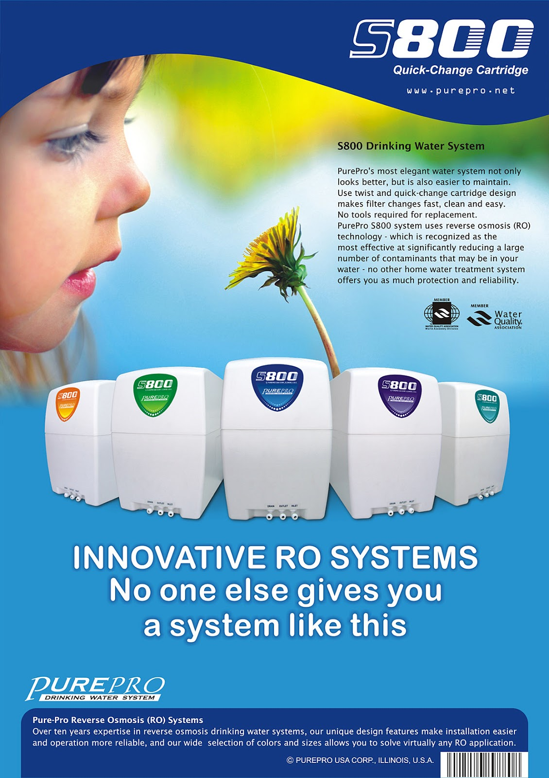 PurePro® USA S-Series Reverse Osmosis System S800-MUV  Manufacturer & Exporter