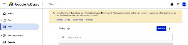 Tampilan Add Site di Google Adsense untuk mengajukan monetisasi Blog kita