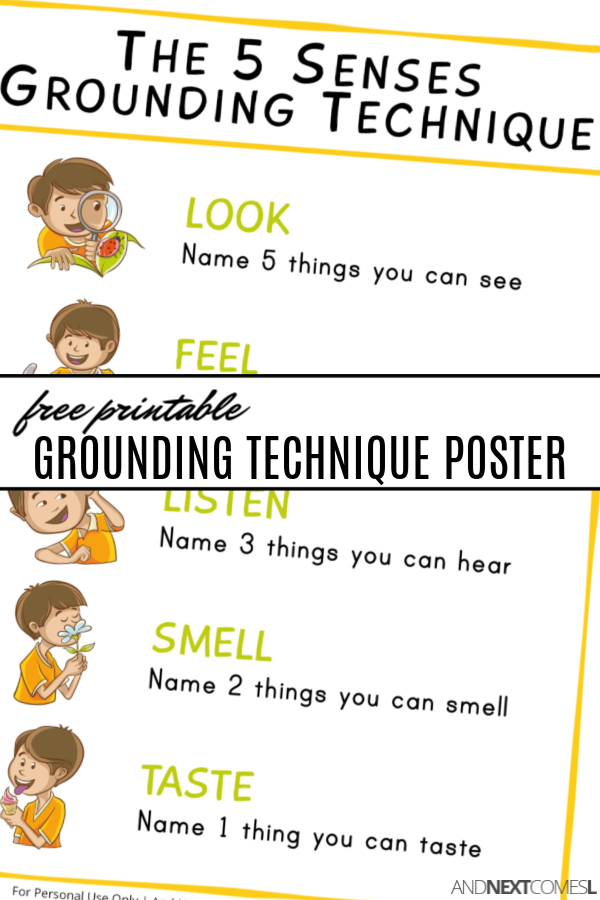 Free printable coping skills poster for kids to learn grounding techniques