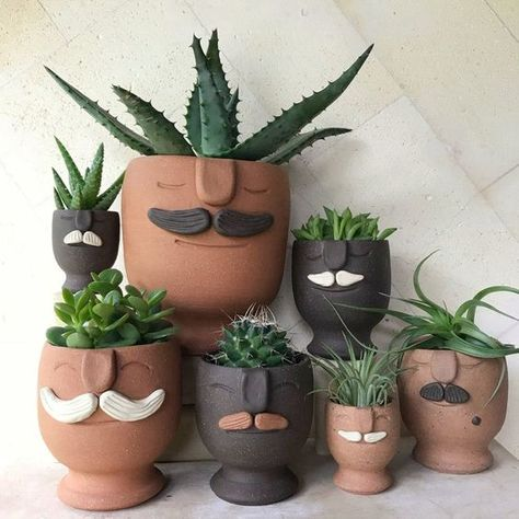 face planters-perfect for your favorite succulent or small plant
