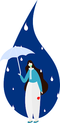 girl umbrella vector with masker avoid corona virus