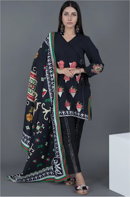 Warda Embroidered 2 PC suit khaddar with dupatta black color winter collection