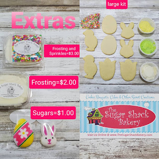 Easter cookie kit options from Sugar Shack including cookies, frosting, and sprinkles