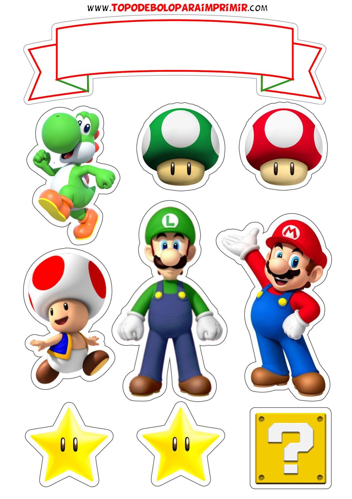 Topo De Bolo Super Mario Para Imprimir Topper De Bolo Para Imprimir