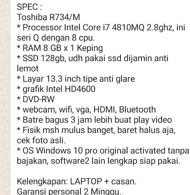 Jual Laptop Merk Toshiba R734/M Core I7 RAM 8GB SSD 126 GB di Kursus Komputer YMII Cileungsi