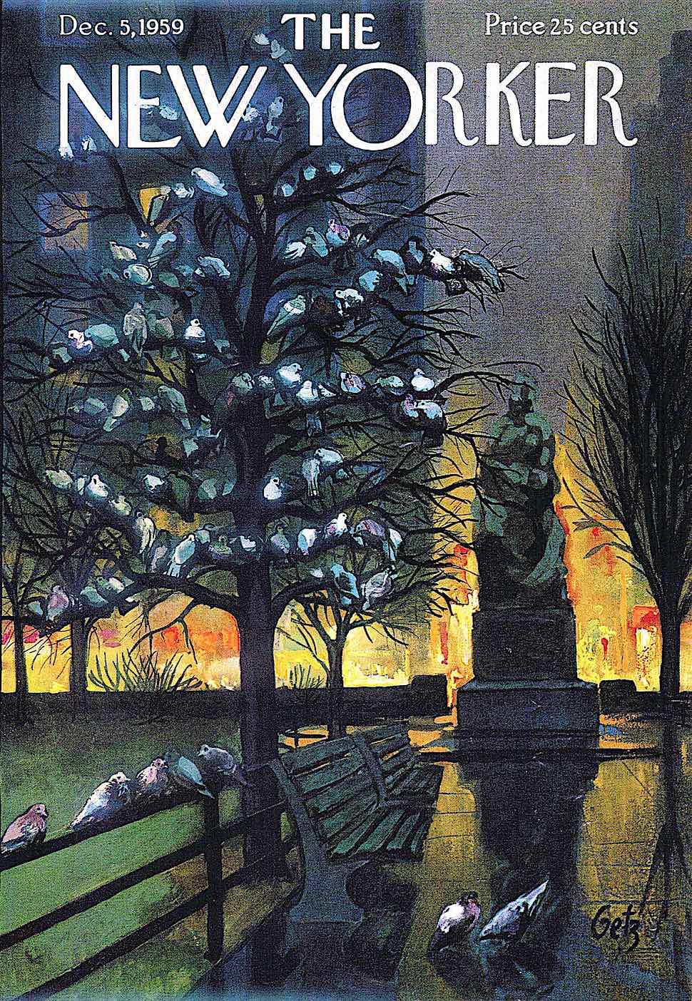 a 1959 Arthur Getz illustration of New York at night