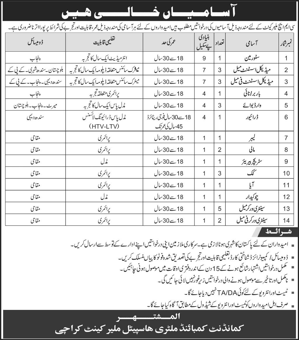 CMH Karachi Jobs in Combined Military Hospital Malir Cantt may 2017