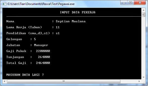 Source Code Data Pegawai dalam Pascal