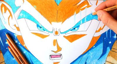 Speed drawing of Vegeta's new form : Limit Breaker / Ultra Instinct - Dragon Ball Super Episode 123