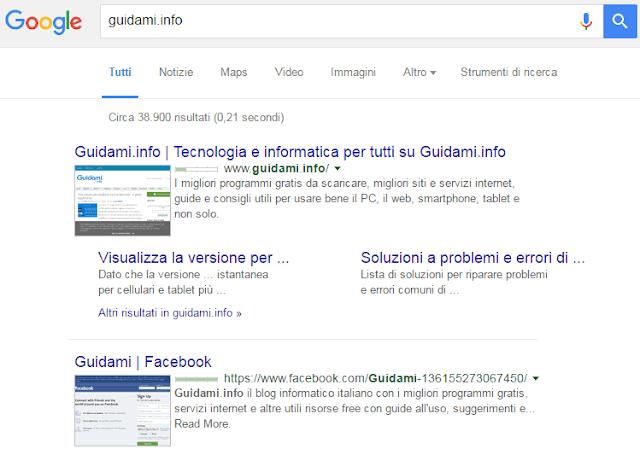 Risultati ricerca Google con anteprima siti addon SearchPreview