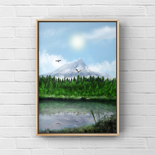 mountains, river, snow, woods, forest, birds flying, artwork,