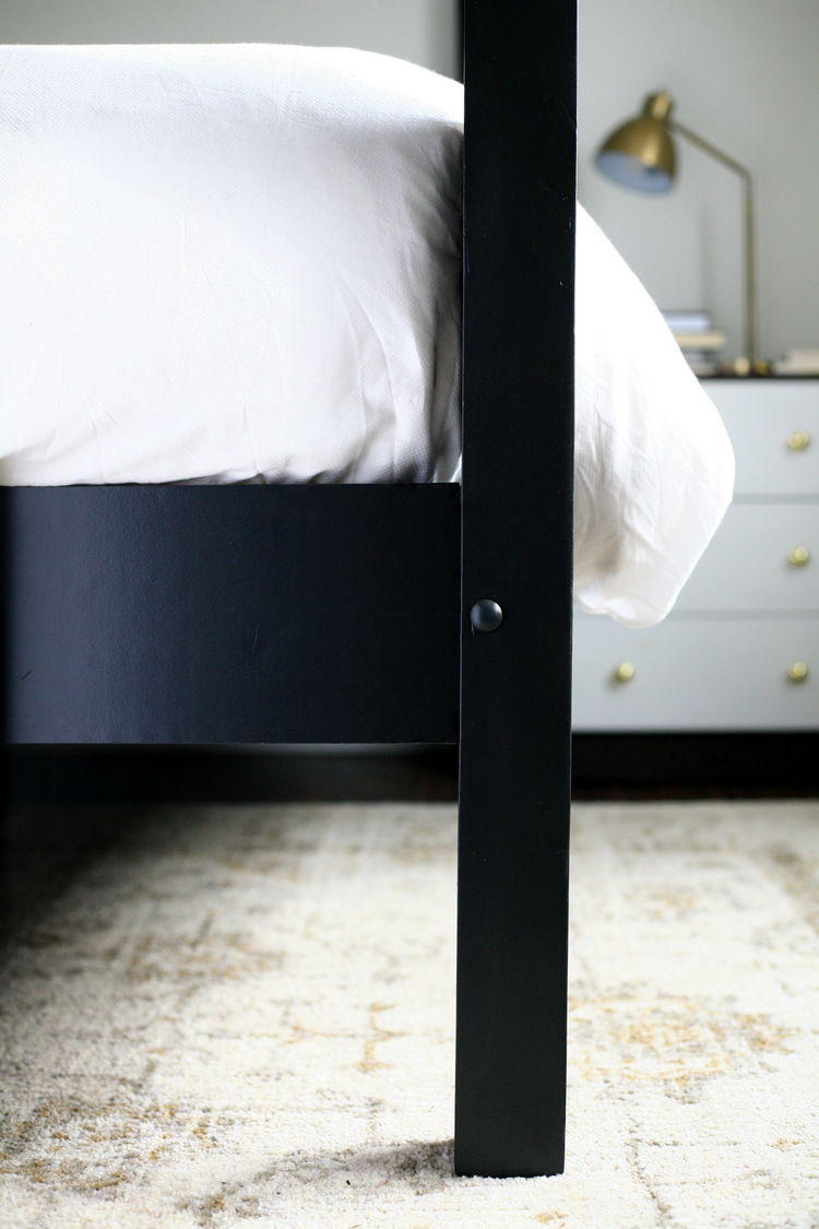 Good This particular bed was once an actual canopy bed with a metal frame that has since been lost It came with four wooden pegs that go in holes on top of the
