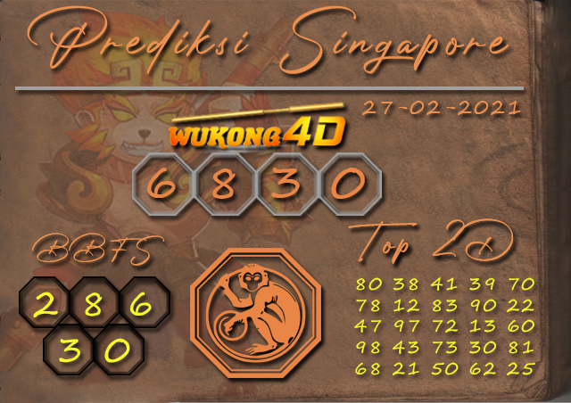 PREDIKSI TOGEL SINGAPORE WUKONG4D 27 FEBRUARY 2021