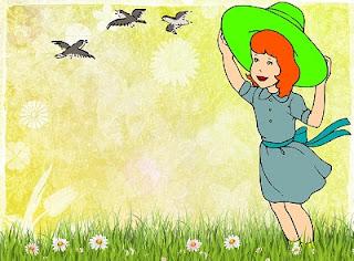 prato di primavera con uccelli
