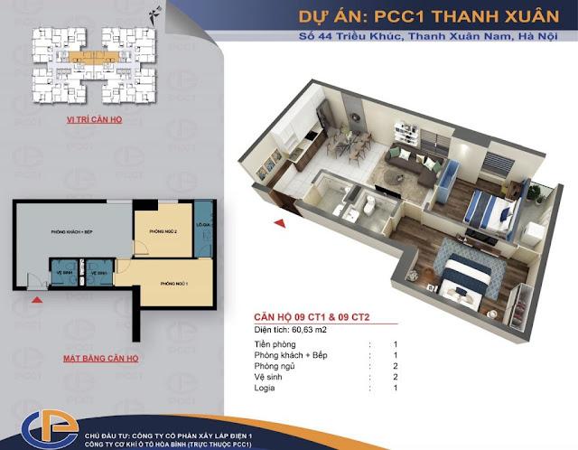 Mặt bằng căn hộ số 09 diện tích 60,63m2 chung cư PCC1 - 44 Thanh Xuân