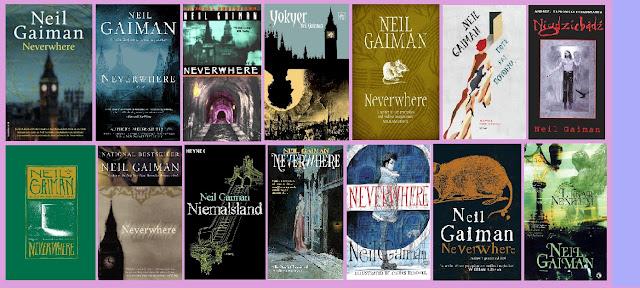 portadas de la novela de fantasía urbana Neverwhere, de Neil Gaiman