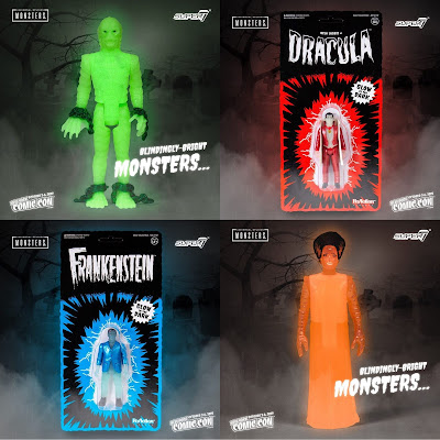 New York Comic Con 2019 Exclusive Universal Monsters Glow in the Dark ReAction Retro Action Figures by Super7