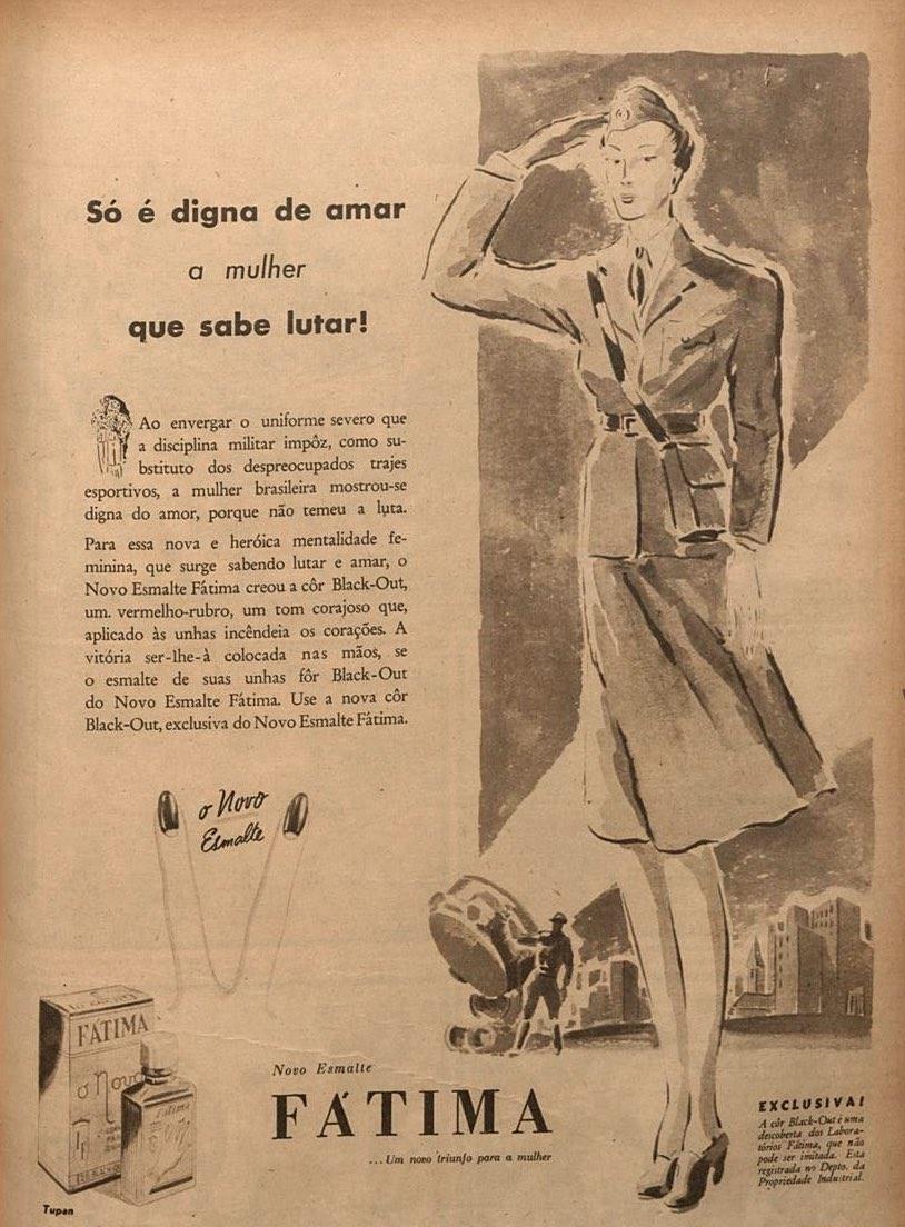 Propaganda antiga do Esmalte Fátima veiculada em 1943