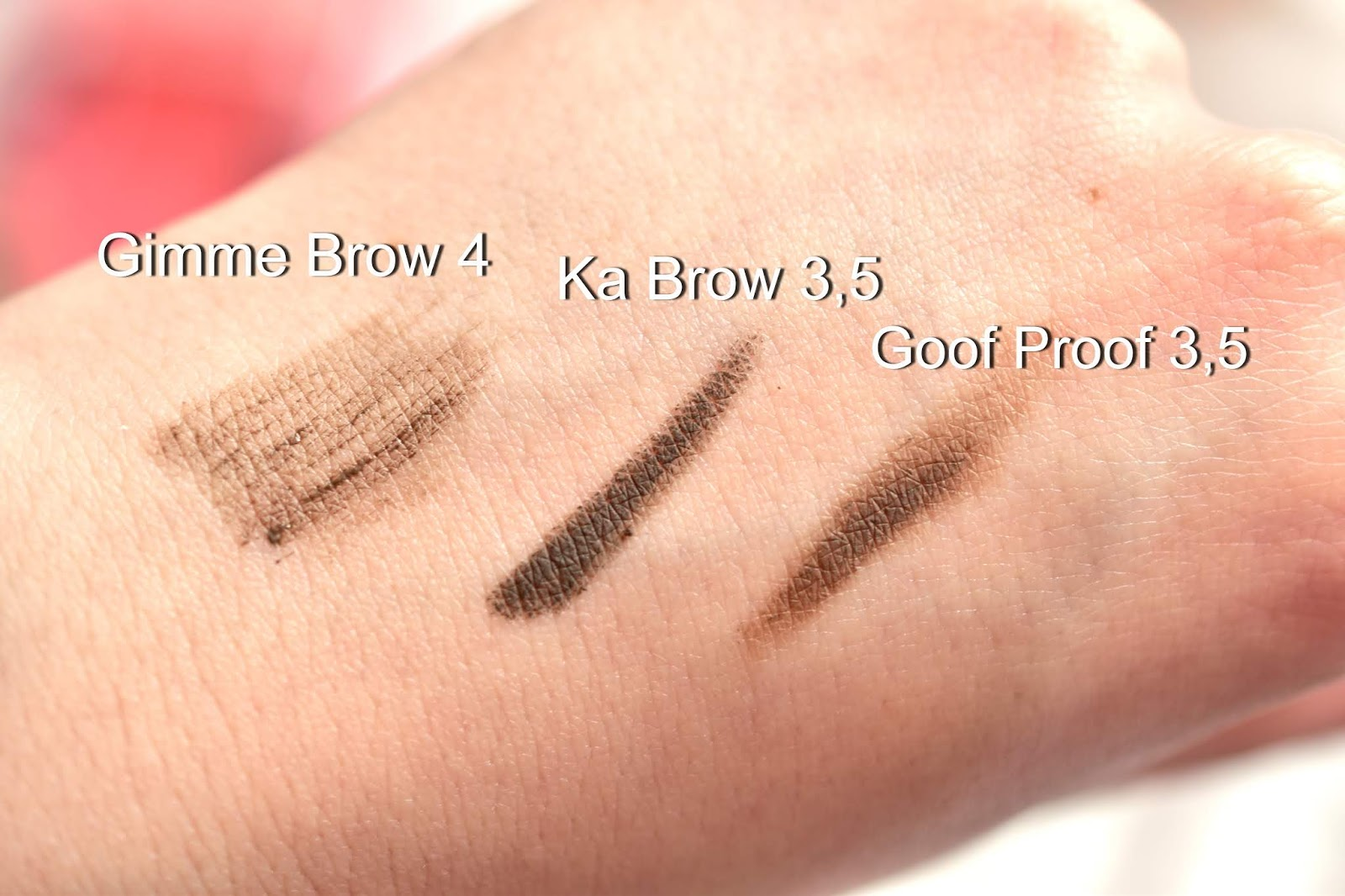 Benefit brow product swatches