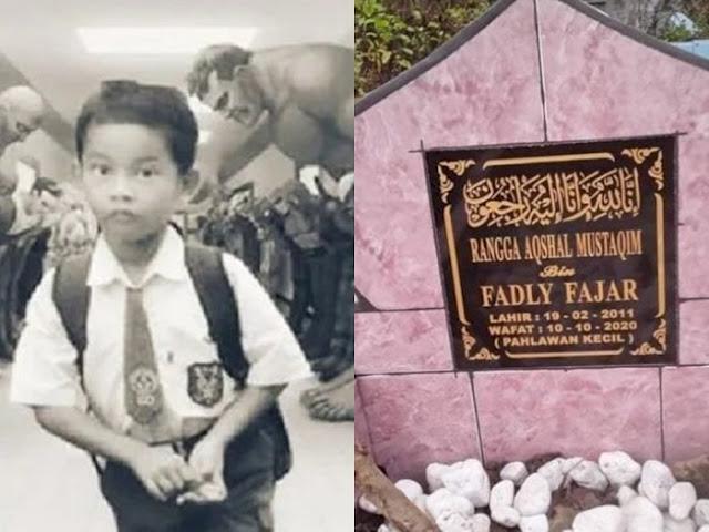 Meninggal Demi Selamatkan Sang Ibu, Ada Tulisan 'Pahlawan Kecil' di Makam Rangga