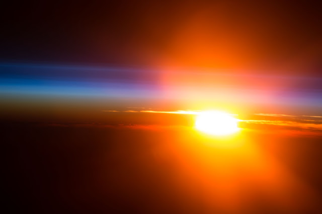 Sunrise over Pacific Ocean seen from the International Space Station