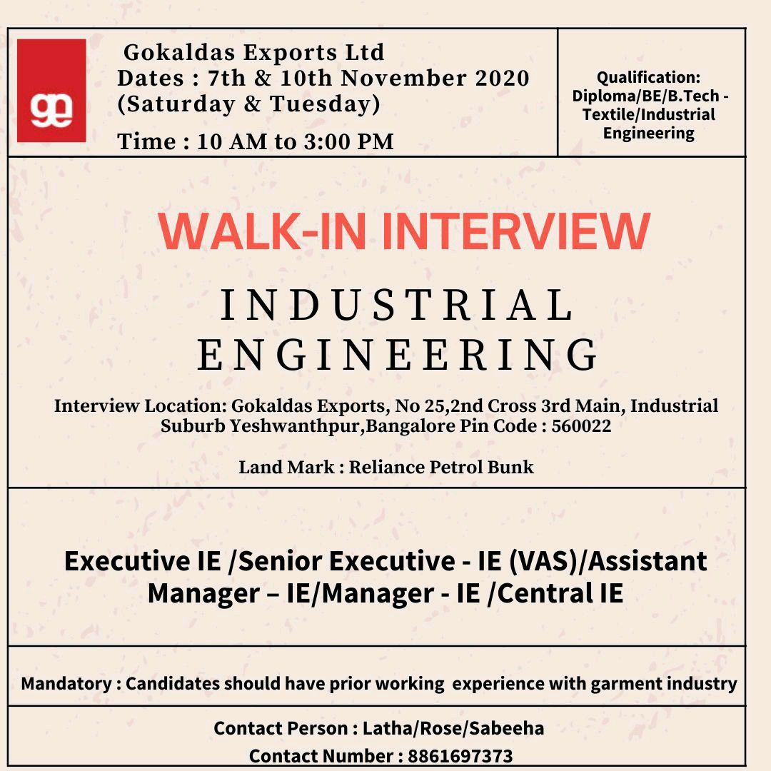 Gokaldas Exports Ltd Walk In Interview For Diploma, BE, B.Tech Candidates in Bangalore