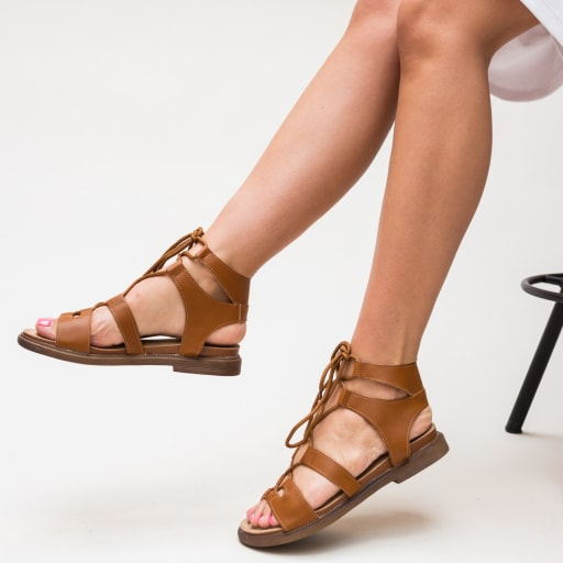 Sandale cu talpa joasa camel foarte ieftine