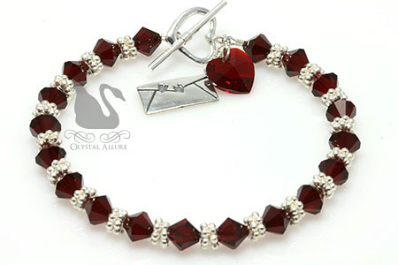 Crystal Red Heart Love Letter Charm Bracelet (B141)